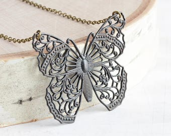 Large Rustic Black Butterfly Filigree Pendant Necklace on Antiqued Brass Chain