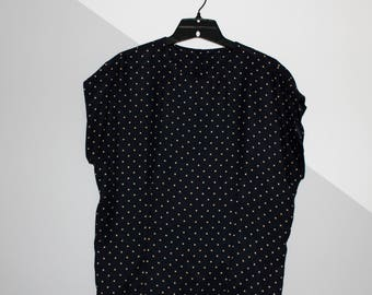 Dark Blue Beige Polka Dots Top Blouse Shirt. Size S. Refashion. Handmade. OOAK