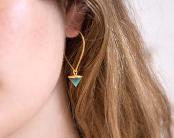 Charm Hoop Earrings, Stone Drop Earrings, Spike Jewelry, Crystal Point, Emerald Earrings, Gold Hoops, Statement Earrings, Edgy Earrings