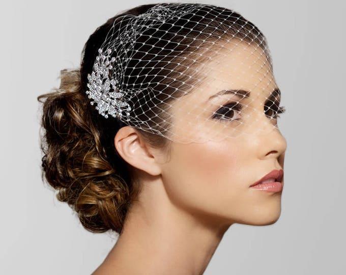Birdcage Veil, FREE SHIPPING, Bridal Veil, Bridal Comb, Bandeau Birdcage Veil, Blusher veil, Bird Cage Veil, Detachable Crystal Comb Veil