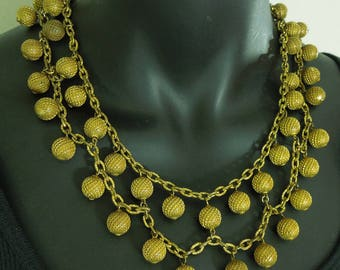 1930s French Festoon Necklace Tiered Chains Drops Goldtone Art Deco Necklace