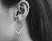 """Medium Square Hoop Earrings 1.5"""""""