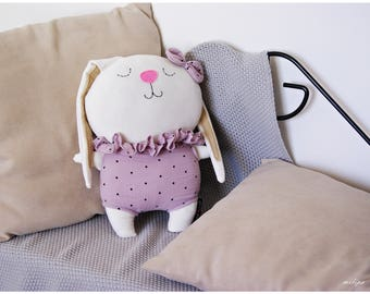 Bunny Doll COLETTE. Bunny rag doll, rabbit doll, stuffed bunny, plush bunny, stuffed animal, animal rag doll, soft bunny doll, rabbit dolls.