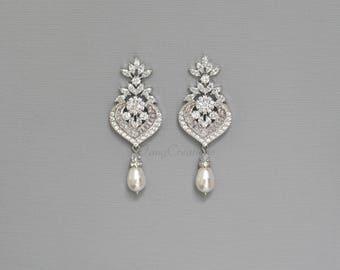 CZ Bridal Earrings, Wedding Earrings, Swarovski Pearl Crystal Dangle Earrings, Vintage Style, Bridal Jewelry, GRACE