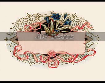 Instant Digital Download, Antique Victorian Graphic, Pink Decorative Floral Ribbon Label, Scrolls, Text Box, Printable Image, Easter, Spring