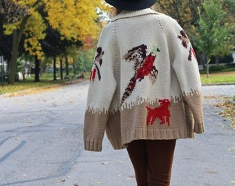 60s Vintage Sweater Jacket PHEASANT HUNTER Hipster Shawl Collar Cardigan Coat COWICHAN Modern Men Women's Hand Knit Wool Sweater Size Large