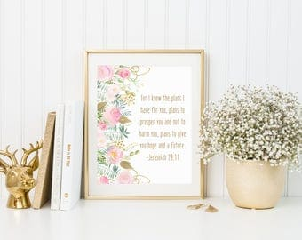 For I know the Plans I have for You - Christian Printable Wall Art - Religious Nursery Decor - 8 x 10 - Watercolor Art - Nursery Decor