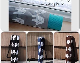 Yoga Mat Tote Bag Elephant Cotton Twill Pilates Bag Exercise Mat Bag