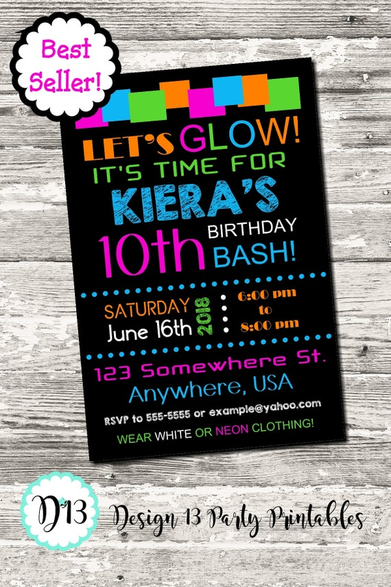 Glow Neon Birthday Party Invitation with free Thank You Printable ...