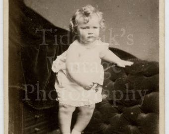 CDV Carte de Visite Photo Cute Victorian Little Girl with Curls Portrait - C Voss Bark of Clifton Bristol England - Antique Photograph