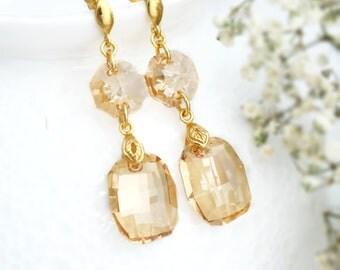 Gold earrings, Bridal earrings, Swarovski earrings, Bridesmaid earrings, Vintage crystal earrings Wedding champagne earrings Bridesmaid gift
