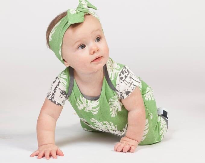 Newborn Baby Boy Onesie Outfit Summer, Baby Boy Green Pocket Romper, Infant Neutral Romper Green Leaves, Newborn Baby Tesa Babe