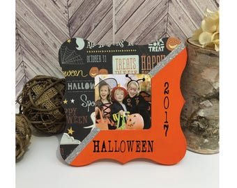 Funky Halloween frame-ON SALE-Mommy take me trick or treating Halloween picture frame-Halloween 2017-halloween decor, halloween frame