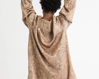 80s Gold Oversized Embroidered Top XL
