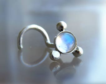 Moonstone nose stud - Nose piercing - Cartilage piercing - Rainbow moonstone jewelry