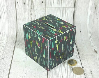Cactus Money Box, ideal Birthday or Christmas Gifts for Cactus Fans. Cacti Piggy Bank
