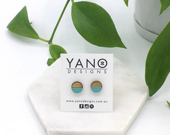 Hand painted 10mm round bamboo stud earrings (with hypoallergenic surgical steel posts & backings)