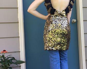 Vintage 1980s sequin dress Black and gold Bows Prom dress Party dress 80s mini dress Statement dress Low back Sequins