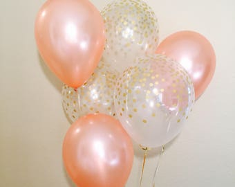 Rose Gold Latex Balloons, Gold Dot Confetti Look Rose Gold Wedding, Rose Gold Balloons, Rose All Day Balloon, Rose Gold Bachelorette Party