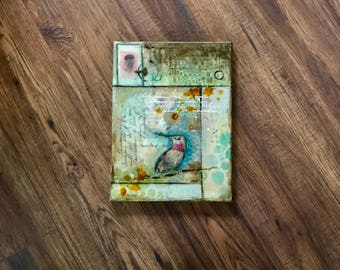 Hummingbird Art, Collage Art, Inspired Encaustic Art, Layered Art