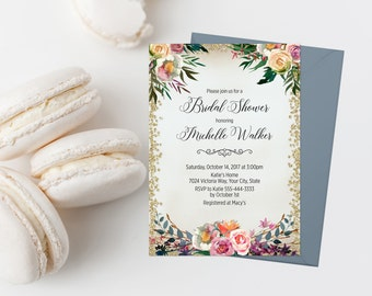 Bohemian Bridal Shower Invitation Printable Pink and Blue Bridal Shower Invite Boho Bridal Shower Invitation Pink Floral Bridal Shower 287
