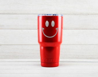Yeti Tumblers Engraved With Smiley Face Personalized Yeti Tumblers 20 oz Smiley Face Yeti Gift For Men Smiley Face Yeti Rambler 30 oz Gift