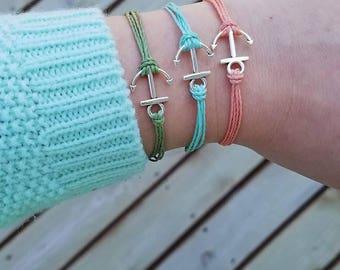 Anchor bracelet, anchor jewelry, string bracelet, multi strand bracelet, cord bracelet, nautical bracelet, nautical jewelry