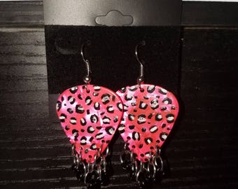 Hand painted leopard guitar pick earrings