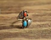 Native American Wrap Ring - Size 8 + turquoise and coral bypass ring
