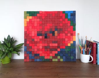 "Modern wall art, wood sculpture POPPIES 1, 24"" x 24"", Wood wall Decor, Geometric, wood cubes, flower art, Reclaimed Wood, rustic wood art."