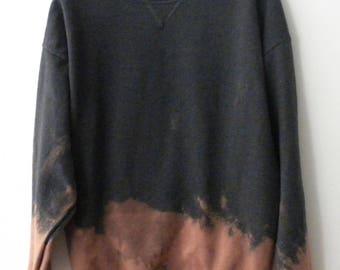 Tie dye Gray Sweatshirt, Extra Large, Crewneck Sweatshirt, Hipster, dip dye sweatshirt, tie dye, grunge, acid wash, rocker, sweater, jumper
