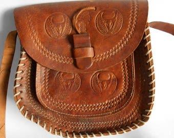 ON SALE Vintage brown leather shoulder bag, Brown leather bag, tooled leather bag purse handbag, little brown leather bag, boho hippie leath