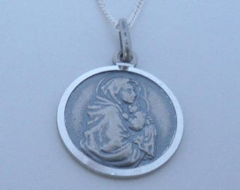 """925 Sterling Silver Virgin Mary & Baby Jesus Pendant on 16, 18 or 20"""" Curb Chain"""