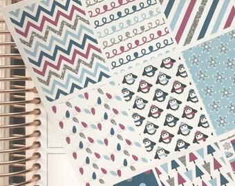 Silver and Blue Winter Wonderland Full Box Erin Condren Planner Stickers