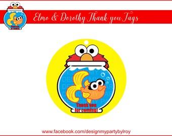 ELMO & DOROTHY Thank you Tags, Elmo Thank you Tags, Instant Download, Sesame Street Thank you Tags, Elmo, Dorothy, Digital File,Elmo Favors.