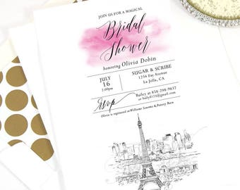 Paris Skyline Bridal Shower Invitations, French, Wedding, Eiffel Tower, Bridal Brunch, Bridal Luncheon (set of 25 cards & envelopes)