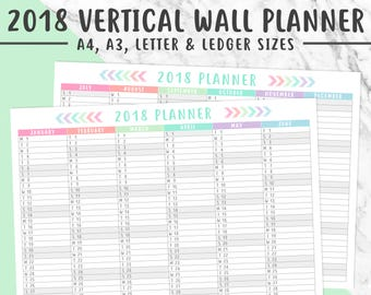 2018 VERTICAL WALL PLANNER Printable | A4, A3, Letter, Ledger,  2018 Planner, Instant Download