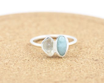 Sterling Silver Aquamarine and Herkimer Diamond Ring |Boho|Bohemian Gemstone Ring |Dainty|Bohemian Chic|March Birthstone Ring|Pisces & Aries
