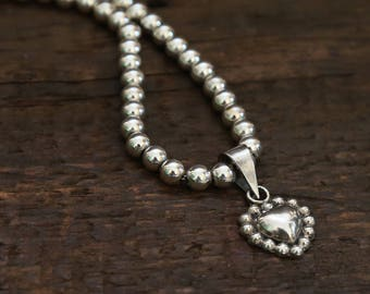 All Sterling Silver Beaded Necklace & Heart