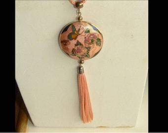 Vintage Cloisonne pink peach tassel necklace