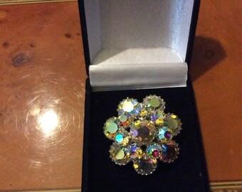 Vintage 1950's Swarovski Crystal aurora borealis brooch