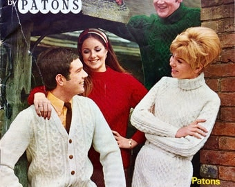 Vintage Patons The Aran Look No 161 knitting pattern booklet 1970's