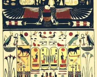 Egyptian hieroglyphs Cross Stitch Pattern Pdf Egyptian cross stitch - 311 x 298 stitches - INSTANT Download - B1326
