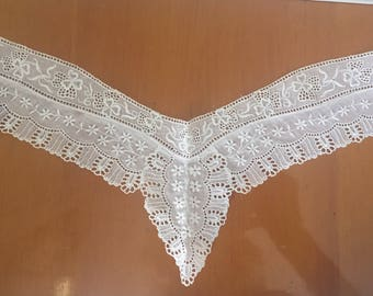 Antique collar 1900 Handcrafted High Standing Embroidered Floral Cutwork Threadwork For clothing costume accessory women girl