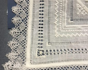 "Victorian sampler thread work/embroidery / bobbin lace 12""1/2 square Impeccable clen condition For collection , home decor, wedding"