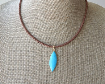 Leather bolo necklace with turquoise pendant, boho style jewelry, choker necklace, beach boho, festival chic, greek leather, braided leather