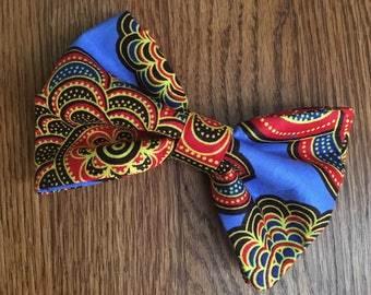 African Print/Ankara Bow Tie with Adjustable Neck Band -  Shanti Blue (Ties, Bowtie, Formal, Casual, Accessories)
