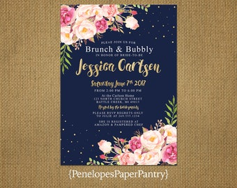 Elegant Navy Brunch and Bubbly Bridal Shower Invitation,Pink,Blush,Roses,Confetti,Bubbles,Gold Print,Shimmery,Personalize,Printed Invitation