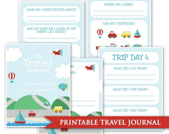 Kids Travel Journal- Printable Digital PDF Road Trip Daily Memory Book Keepsake Journaling Car Trip Cruise Train Plane USA Cross Country