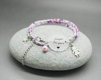 """bracelet liberty cabochon """"Mamie en Or"""" papillon personnalisable"""